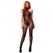 Leg Avenue Seamless Halter Body Stocking Black UK 8 to 14
